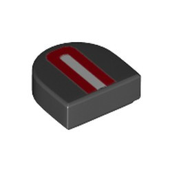 Black Tile, Modified 1 x 1 Half Circle Extended (Stadium) with Red Arch and White Stripe Pattern - new