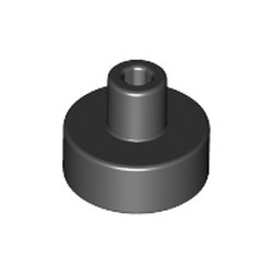 Black Tile, Round 1 x 1 with Bar and Pin Holder - new