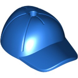 Blue Minifigure, Headgear Cap - Short Curved Bill with Seams and Hole on Top