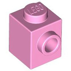 Bright Pink Brick, Modified 1 x 1 with Stud on 1 Side - new