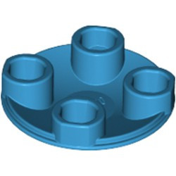 Dark Azure Plate, Round 2 x 2 with Rounded Bottom (Boat Stud) - used