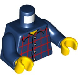 Dark Blue Torso Plaid Button Shirt Pattern / Dark Blue Arms / Yellow Hands