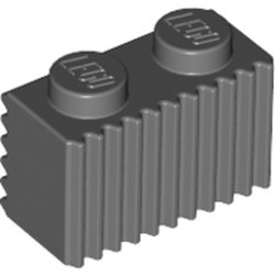 Dark Bluish Gray Brick, Modified 1 x 2 with Grille / Fluted Profile