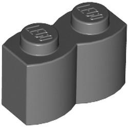 Dark Bluish Gray Brick, Modified 1 x 2 with Log Profile
