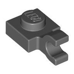 Dark Bluish Gray Plate, Modified 1 x 1 with Open O Clip (Horizontal Grip) - new