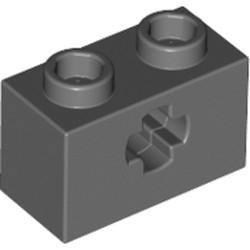 Dark Bluish Gray Technic, Brick 1 x 2 with Axle Hole
