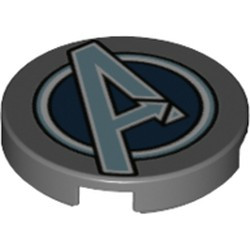Dark Bluish Gray Tile, Round 2 x 2 with Bottom Stud Holder with Silver Avengers Logo Pattern - new
