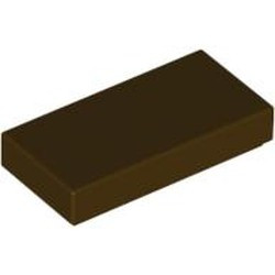 Dark Brown Tile 1 x 2 with Groove - new