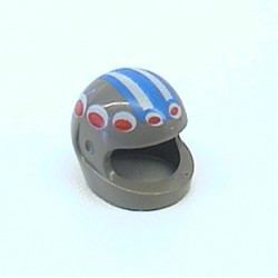 Dark Gray Minifigure, Headgear Helmet Motorcycle with Red/White Circles and Blue/White Striped Pattern - used