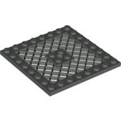 Dark Gray Plate, Modified 8 x 8 with Grille - used