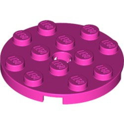 Dark Pink Plate, Round 4 x 4 with Hole - new