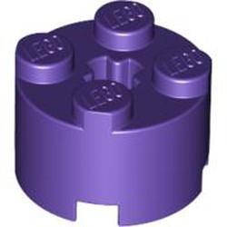 Dark Purple Brick, Round 2 x 2 with Axle Hole - new