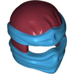 Dark Red Minifigure, Headgear Ninjago Wrap Type 2 with Dark Azure Wraps and Knot Pattern - used