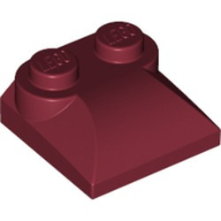 Dark Red Slope, Curved 2 x 2 x 2/3 with Two Studs and Curved Sides - used