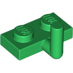 Green Plate, Modified 1 x 2 with Bar Arm Up (Horizontal Arm 5mm) - used