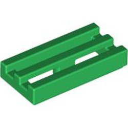 Green Tile, Modified 1 x 2 Grille with Bottom Groove / Lip - used