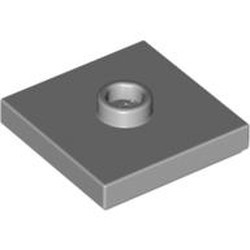 Light Bluish Gray Plate, Modified 2 x 2 with Groove and 1 Stud in Center (Jumper) - used