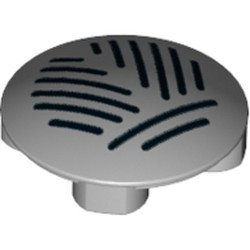 Light Bluish Gray Plate, Round 2 x 2 with Rounded Bottom and Grille Pattern