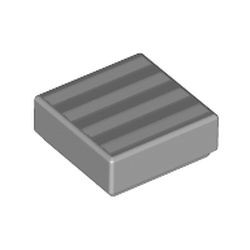 Light Bluish Gray Tile 1 x 1 with Groove with 4 White Stripes Pattern