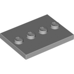 Light Bluish Gray Tile, Modified 3 x 4 with 4 Studs in Center