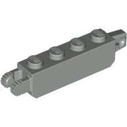 Light Gray Hinge Brick 1 x 4 Locking, 9 Teeth with 1 Finger Vertical End and 2 Fingers Vertical End, 9 Teeth - used