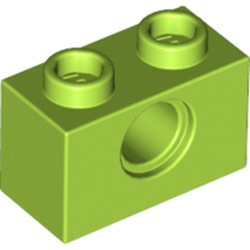 Lime Technic, Brick 1 x 2 with Hole - new