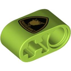 Lime Technic, Liftarm Thick 1 x 2 - Axle Hole with Lamborghini Bull Logo Pattern