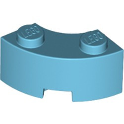 Medium Azure Brick, Round Corner 2 x 2 Macaroni with Stud Notch and Reinforced Underside