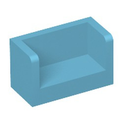 Medium Azure Panel 1 x 2 x 1 with Rounded Corners and 2 Sides