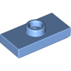 Medium Blue Plate, Modified 1 x 2 with 1 Stud with Groove and Bottom Stud Holder (Jumper) - used