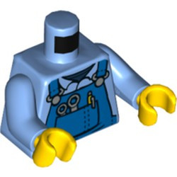 Medium Blue Torso Overalls with Silver Wrenches and Fasteners and Yellow Pen Pattern / Medium Blue Arms / Yellow Hands