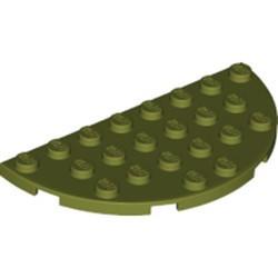 Olive Green Plate, Round Half 4 x 8