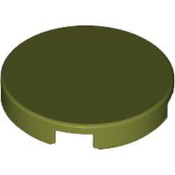 Olive Green Tile, Round 2 x 2 with Bottom Stud Holder