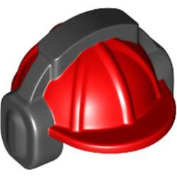 Red Minifigure, Headgear Helmet Construction with Black Ear Protector / Headphones Pattern - used
