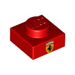 Red Plate 1 x 1 with Ferrari Emblem Pattern - new