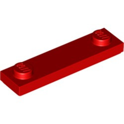 Red Plate, Modified 1 x 4 with 2 Studs with Groove - new