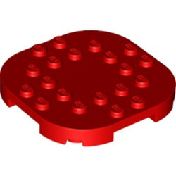 Red Plate, Modified 6 x 6 with Rounded Corners and 4 Feet