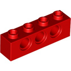 Red Technic, Brick 1 x 4 with Holes - new