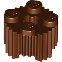Reddish Brown Brick, Round 2 x 2 with Axle Hole and Grille / Fluted Profile