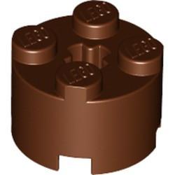 Reddish Brown Brick, Round 2 x 2 with Axle Hole