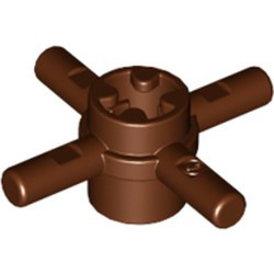 Reddish Brown Technic, Axle Connector Hub with 4 Bars and Pin Hole