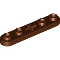 Reddish Brown Technic, Plate 1 x 5 with Smooth Ends, 4 Studs and Center Axle Hole