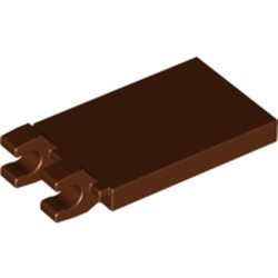 Reddish Brown Tile, Modified 2 x 3 with 2 Open O Clips - used