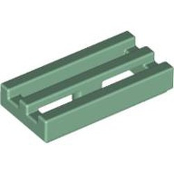 Sand Green Tile, Modified 1 x 2 Grille with Bottom Groove / Lip - used