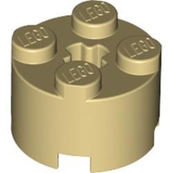 Tan Brick, Round 2 x 2 with Axle Hole - used