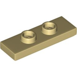 Tan Plate, Modified 1 x 3 with 2 Studs (Double Jumper) - new