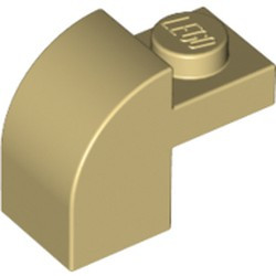Tan Slope, Curved 2 x 1 x 1 1/3 with Recessed Stud - new