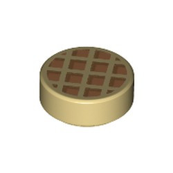 Tan Tile, Round 1 x 1 with Waffle, Nougat Squares with Medium Nougat Edges Pattern - new
