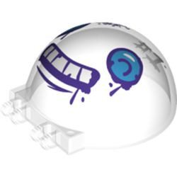 """Trans-Clear Windscreen 6 x 6 x 3 Canopy Half Sphere with Dual 2 Fingers and Dark Azure Eyes, White Teeth with Dark Purple Outline, 'WHAT SUB?' and """"#1"""" Pattern"""