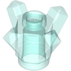 Trans-Light Blue Rock 1 x 1 Crystal 4 Point (Brick, Round 1 x 1 with 4 Upward Fins / Points) - new
